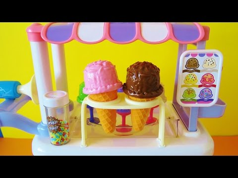 Toy Ice Cream Cart playset Elsa Minnie Mouse Dora Barbie chocolate vanilla ice cream toy food