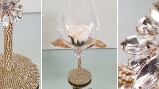 BLING AND GLAM LIGHT UP WINE GLASS CENTERPIECE | QUICK AND EASY DIY | LUXURIOUS HIGH-END IDEAS! 2019