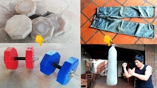 HOMEMADE DUMBBELLS & PUNCHING BAG HOW TO MAKE IT AT HOME/ FOR GYM