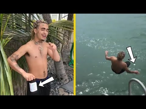 Lil Pump Saves His Bottle Of Lean In The Ocean!