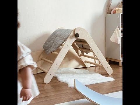 天然木製摺疊三角攀爬架- babyi88