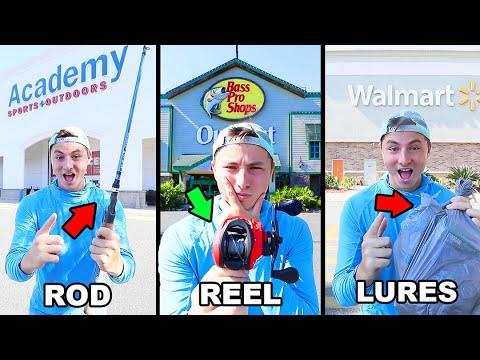 $200 Store Hopping Fishing Challenge - Pick My Rod, Reel, Lures (Bass Pro Shop, Walmart, Academy)