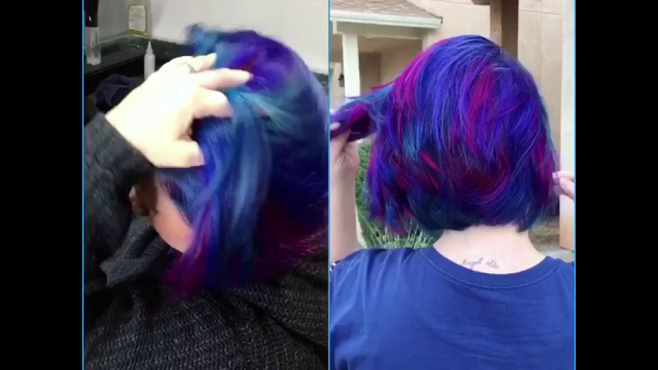crazy color hair pink teal blue purple