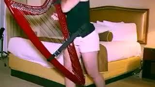 Девушка на арфе играет деспасито