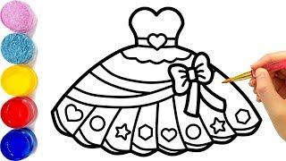 Vẽ váy búp bê đơn giản và tô màu cho bé | Dạy bé vẽ | Dạy bé tô màu | Gaun Putri Halaman Mewarnai