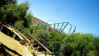 Gold Rusher front seat on-ride HD POV Six Flags Magic Mountain