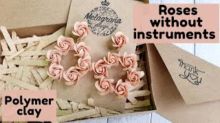 Roses without instruments * Polymer clay * DIY * Tutorial * Melagrana design * Rose earrings