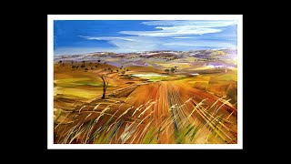 "Learn to Paint Large Acrylic Landscape using a Wide Brush, Super Easy. ""Distant Hills, Close Grass"""