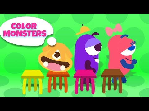 Learn Colors With Color Monsters - New Episodes | Funny Cartoons for Children With Musical Chairs