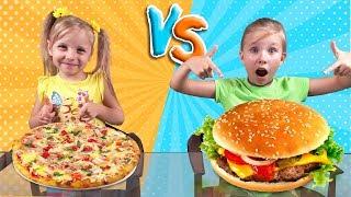 БУРГЕР против ПИЦЦА Челлендж с Николь и Алисой / PIZZA vs BURGER Challenge