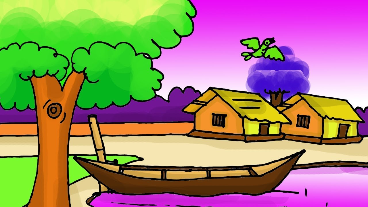 Simple Easy Village Scenery Drawing Tutorial For Beginners Riverside Nature Landscape Step By Step Youtube