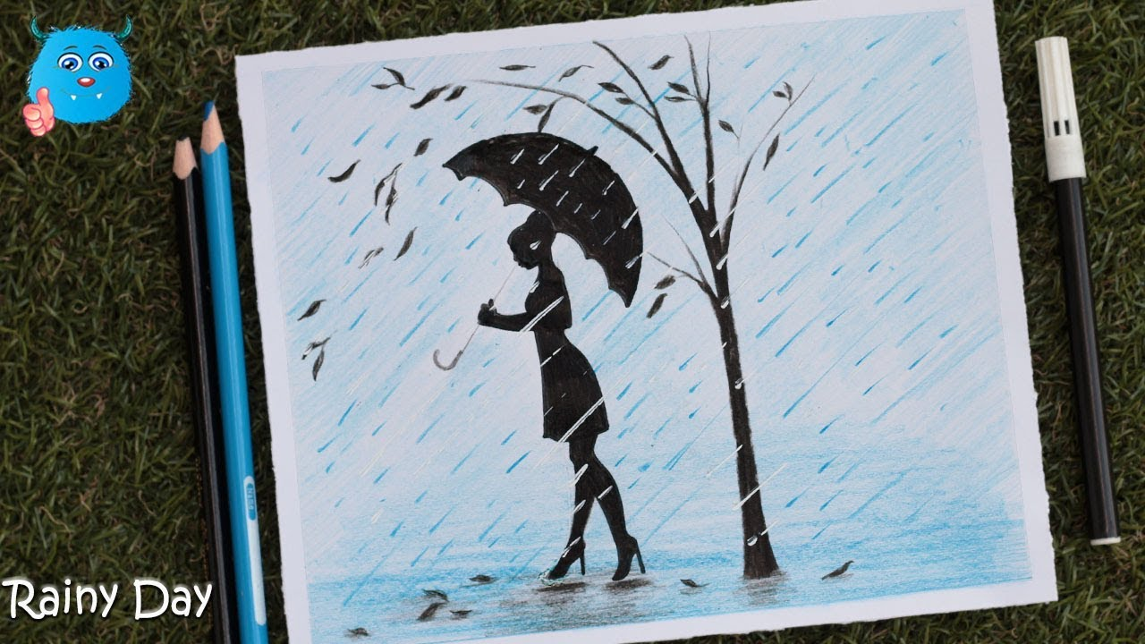 How to draw a rainy day scenery drawing in pencil color
