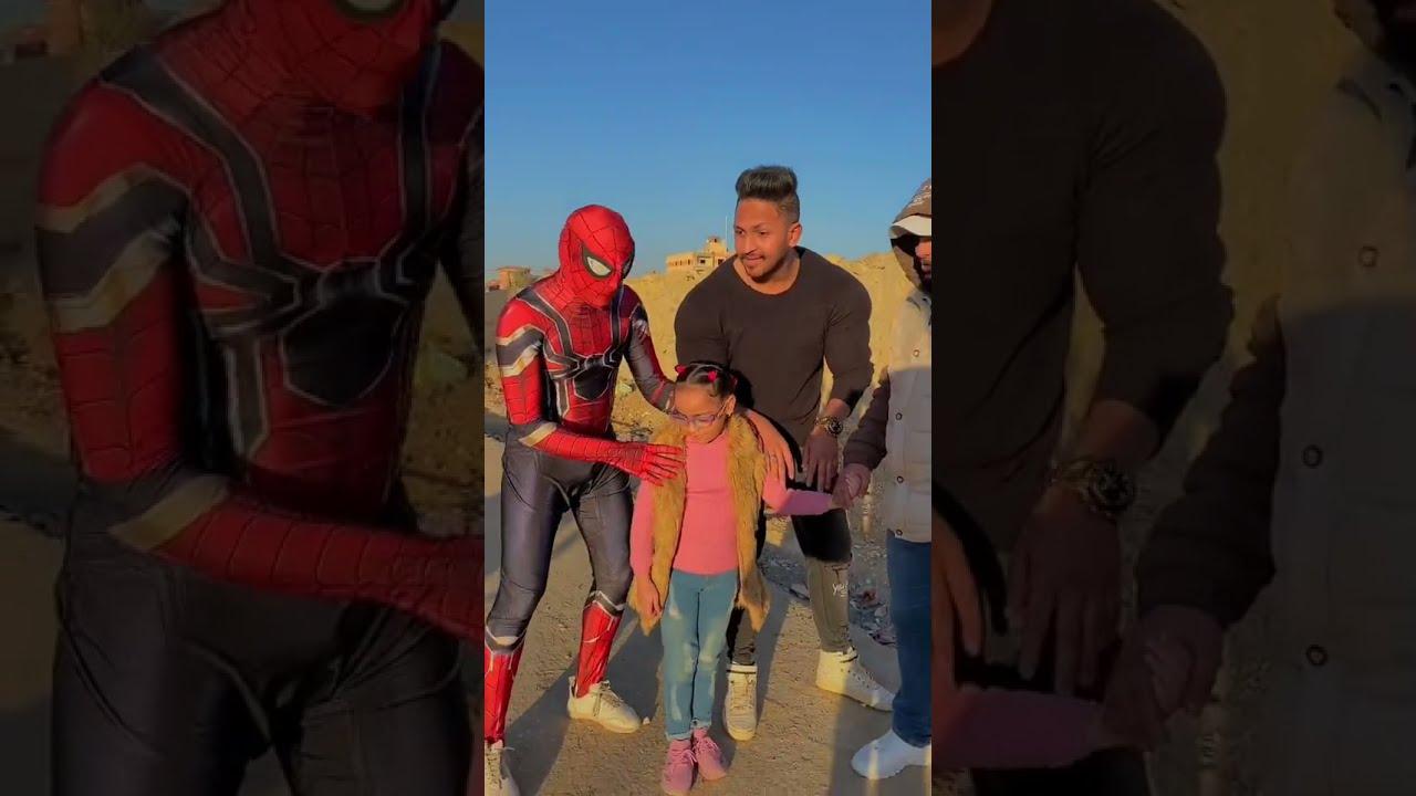 سبايدر مان يفرح طفله يوم عيد ميلاده 🎂 || سبايدر مان المقطم spiderman