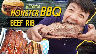 MASSIVE BBQ BEEF RIB | BEST Seattle BBQ Food Review!