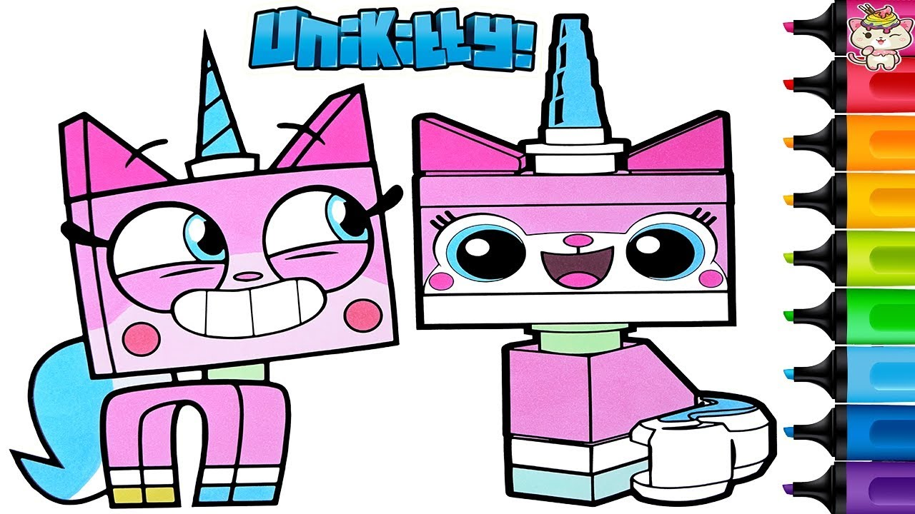 Unikitty Coloring Book Pages Lego Movie Then vs Now Rainbow Splash