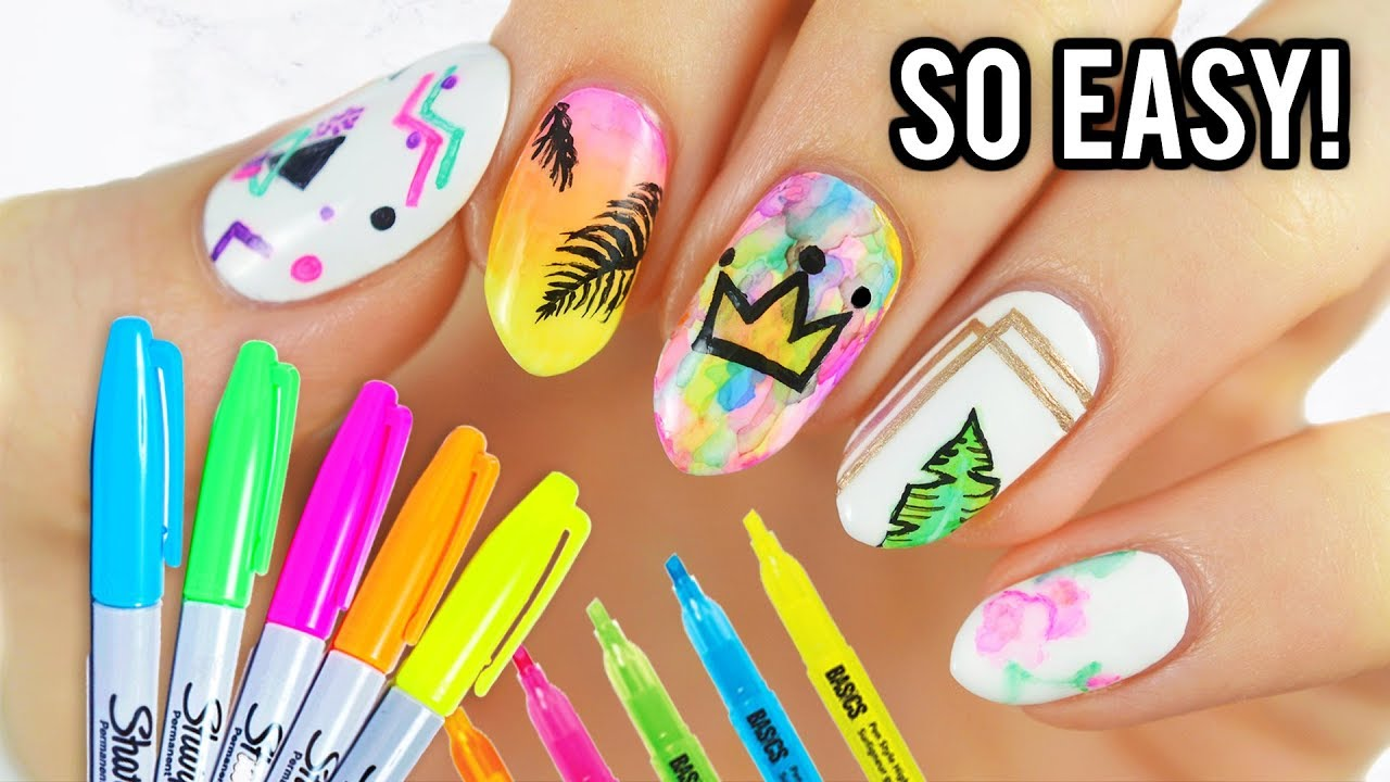 5 Easy Nail Art Designs Using SHARPIE MARKERS! - YouTube