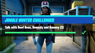 Talk with Beef Boss Remedy and Dummy (3) All Locations - Fortnite Jungle Hunter Challenges