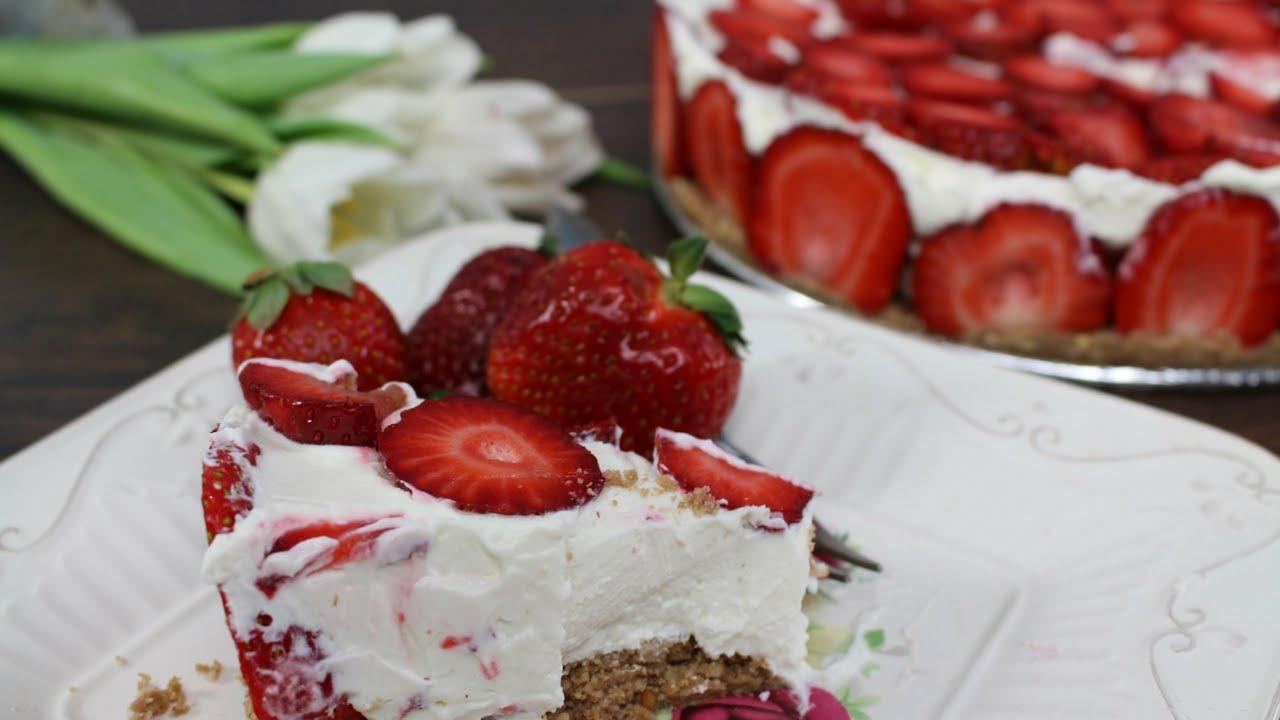 Strawberry White Chocolate Cheesecake No Bake