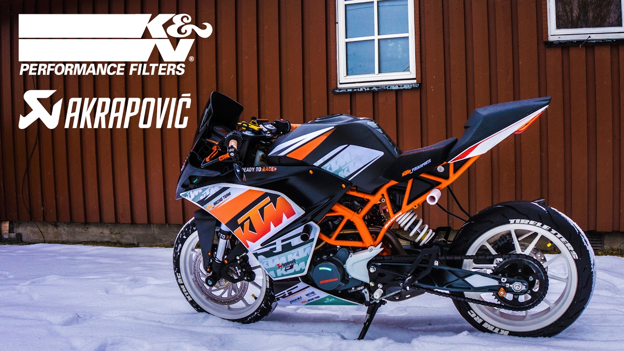 ktm rc 125 akrapovic exhaust with k n air filter installed. Black Bedroom Furniture Sets. Home Design Ideas