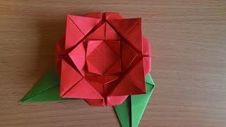 Как сделать из бумаги розу (Easy origami rose)
