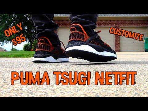 puma tsugi netfit on feet