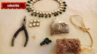 (हिन्दी मे)Tutorial/Beautiful kundan necklace making/DIY Party wear necklace making....