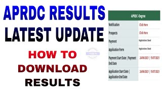 #APRDC latest update 2021 | How to download results | #Thajatv
