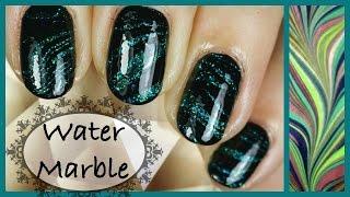 Green glitter & Black Water marble ウォーターマーブル