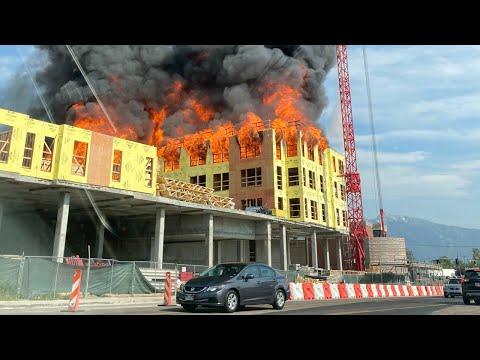 Massive construction site fire seen across Salt Lake Valley