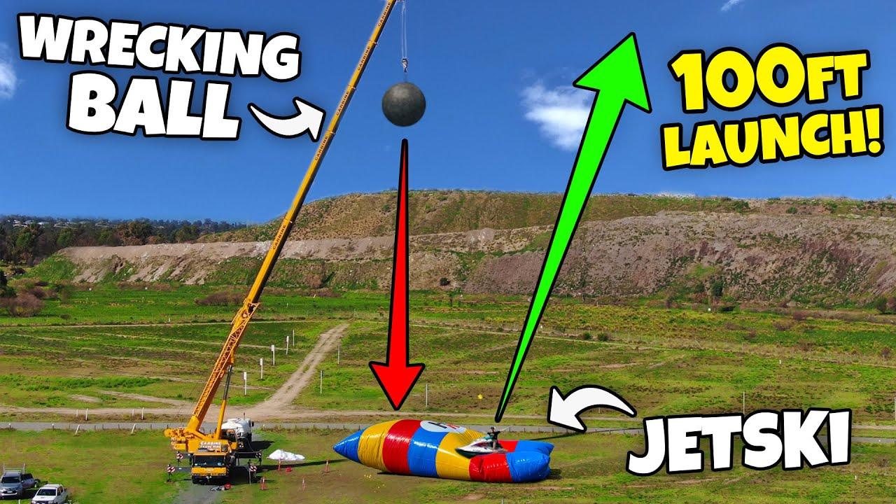 Blob Launching 2 x JET SKI's at the same time 100ft!