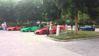 Lamborghini owners revving engines at Jumeirah Emirates Towers Dubai carpark