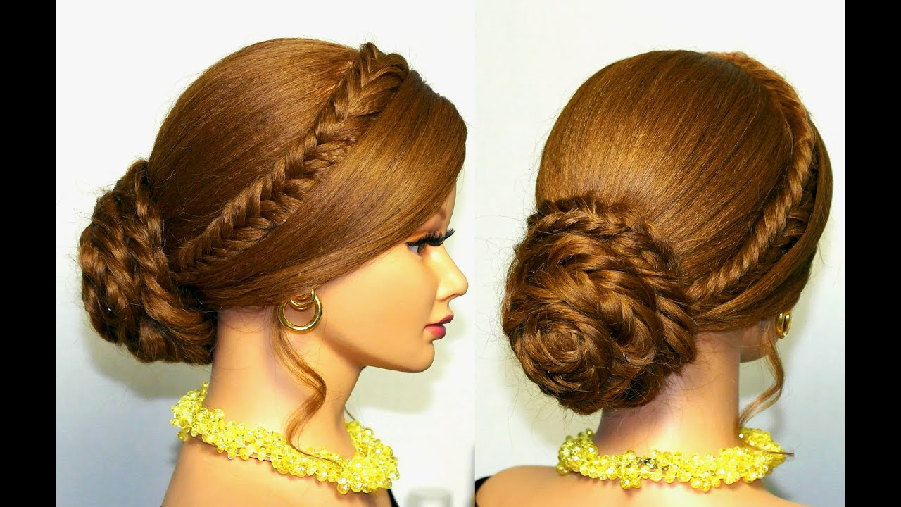 Braided hairstyle for long hair tutorial Updo with fishtail braids