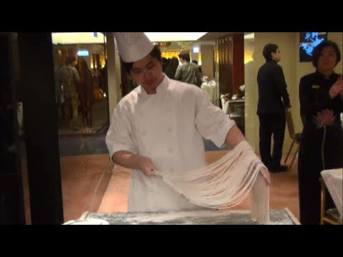 Hong Kong Chinese Food. Chef Makes Noodles by Hand. Hand Pulled Noodles