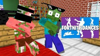 Monster School : FORTNITE DANCE CHALLENGE PART 1 AND PART 2 - Minecraft Animation