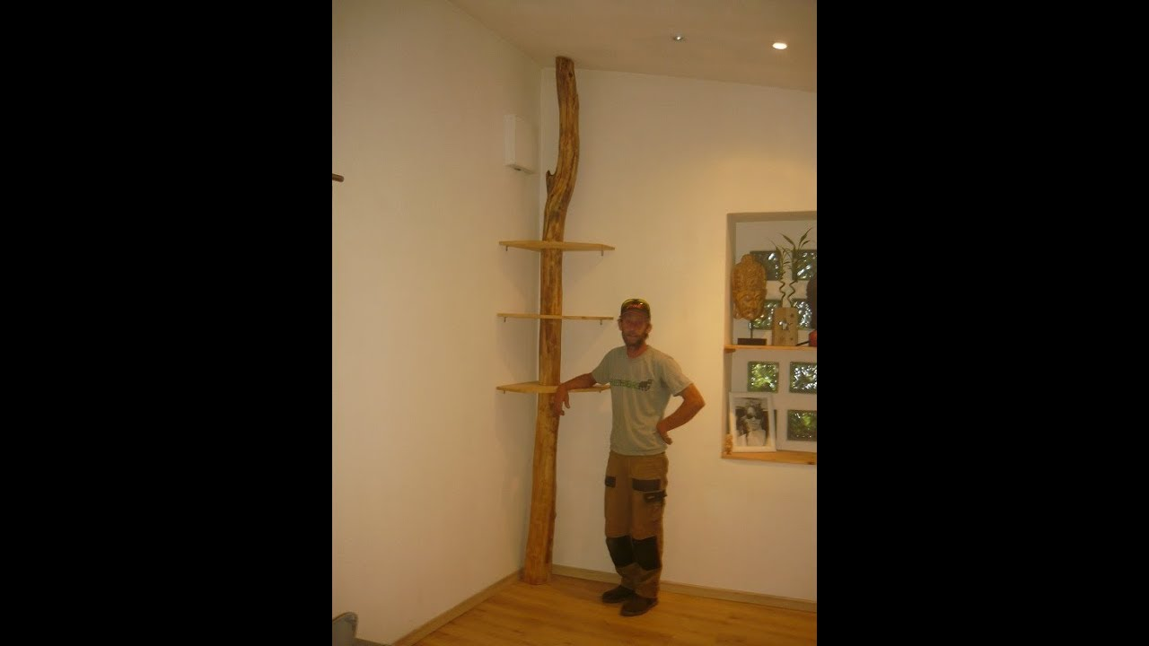 r alisation d 39 une tag re d 39 angle avec un tronc d 39 arbre. Black Bedroom Furniture Sets. Home Design Ideas
