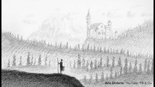 Cómo dibujar un paisaje de fantasía con carboncillo y grafito - Narrado
