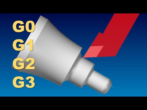 CNC LATHE PROGRAMMING LESSON 5  WRITE A TOOLPATH USING  G0 - G1 - G2  AND G3  MOVES