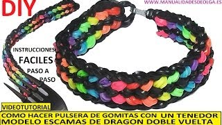 Repeat youtube video COMO HACER PULSERA DE GOMITAS ESCAMAS DE DRAGÓN DOBLE VUELTA CON UN TENEDOR. VIDEOTUTORIAL DIY.
