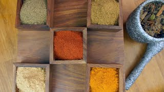 Top view shot of different Indian seasonings in a designer wooden container