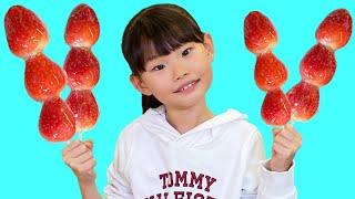 라임의 딸기 탕후루 만드는 방법 | 사과탕후루? 먹을수 있을까? Fruit candy フルーツキャンディ | LimeTube