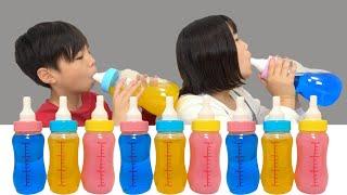 Mukbang 哺乳瓶 対決!シュワシュワ Bottle Candy Jelly こうくんねみちゃん