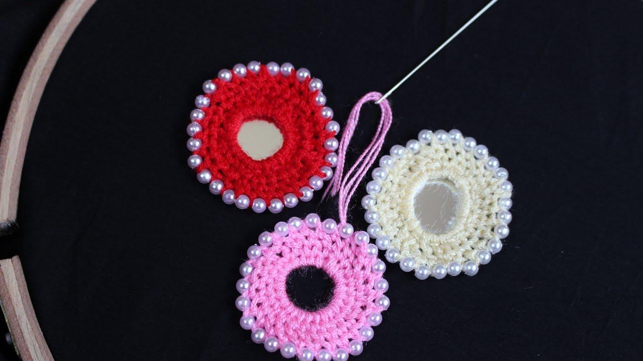 Hand Embroidery Designs Bead Mirror Frame Work Stitch