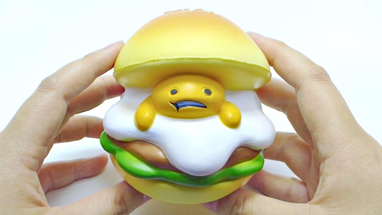 Squishy Hamburger : Slow Rising Gudetama Burger Squishy - YouTube