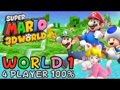 Super Mario 3D World - World 1 (4-Player 100% Walkthrough)