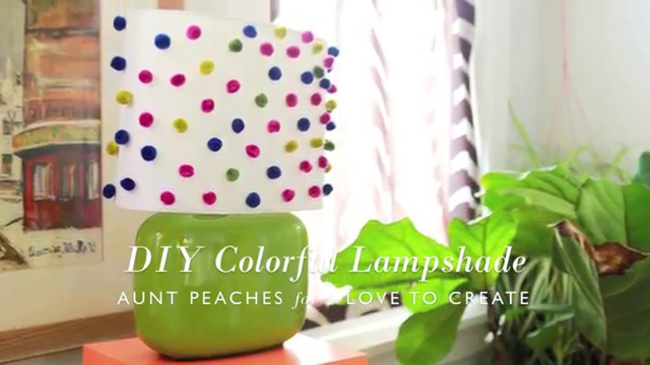 How To Glue Pom Poms Fabric Lampshade Diy From Aunt Peaches