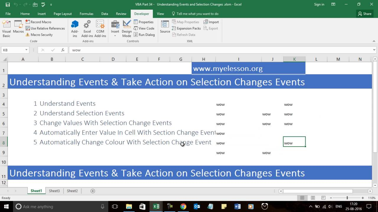 worksheet Vba Activate Worksheet learn vba part 34 understanding events and selection changes youtube