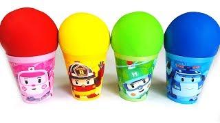 로보카폴리 컵안에 다양한 장난감 알까기 놀이와 재미있는 색깔 놀이 동영상