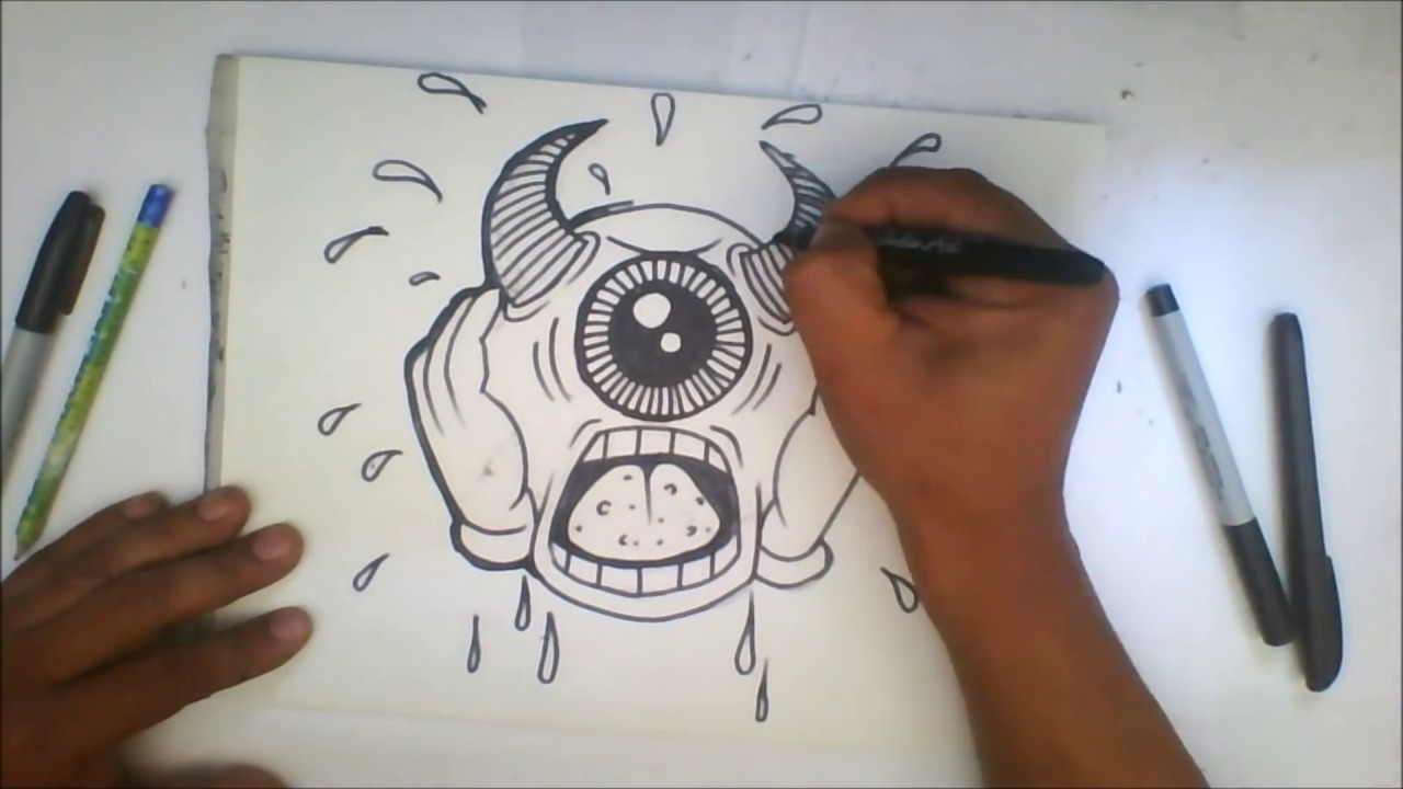 How to draw graffiti character one eye devil cartoon character