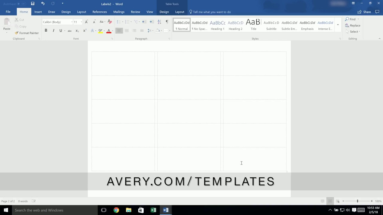 How To Add A Page To A Built In Avery Template In Microsoft Word