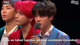 (ENG SUB)-BTS Acceptance Speech /Artist of the Year @ MAMA in HK 2018